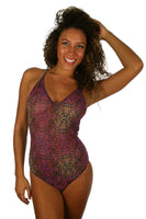 Purple Safari adjustable strap crisscross swimsuit from Lifestyles Direct Tan Through Swimwear.