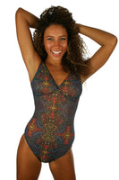 Structured tank swimsuit in multicolor Safari print from Lifestyles Direct Tan Through Swimwear.