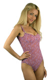 Purple Flower Power tan through adjustable strap underwire support tank swimsuit.