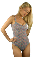 Lifestyles Direct Tan Through adjustable strap underwire support swimsuit in Tiny Flower print.