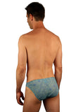 Back of tan through mens racer swimsuit in blue Floral Wave.