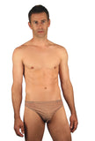 Tan through mens swimwear with 1 inch side in Mesh print.