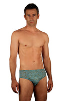 Blue Snake Chic Lifestyles Direct Tan Through Swimwear for men with 3 inch sides.