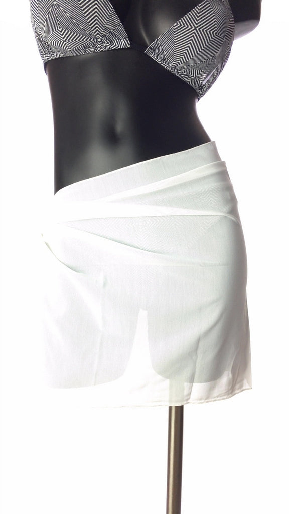 Solid white sarong from Lifestyles Direct Tan Through Swimwear.