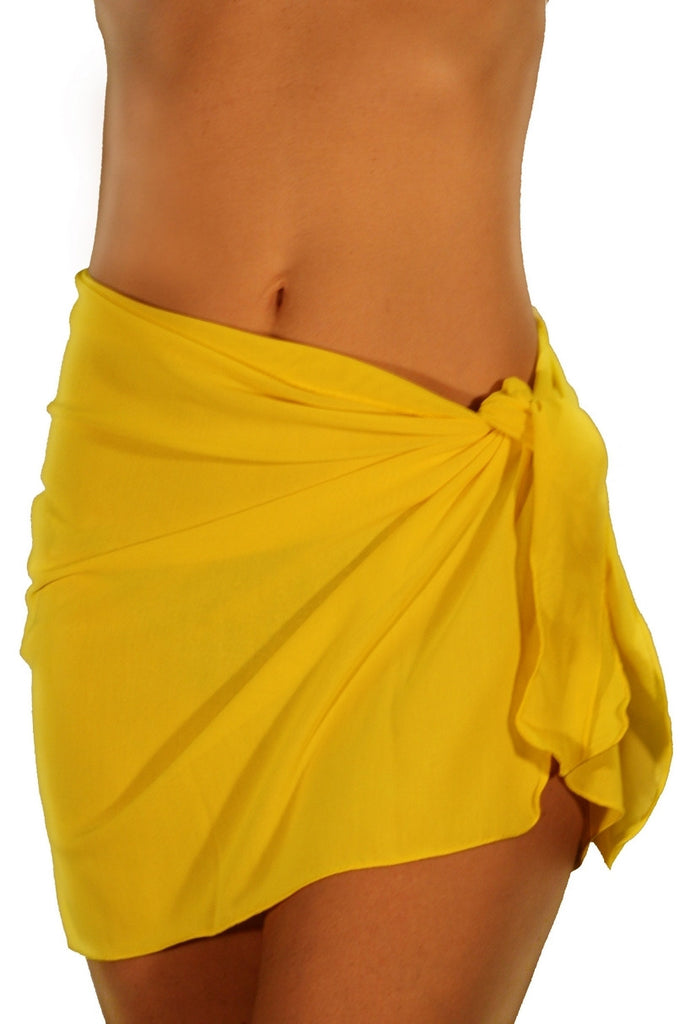 Solid yellow tan through sarong from Lifestyles Direct.