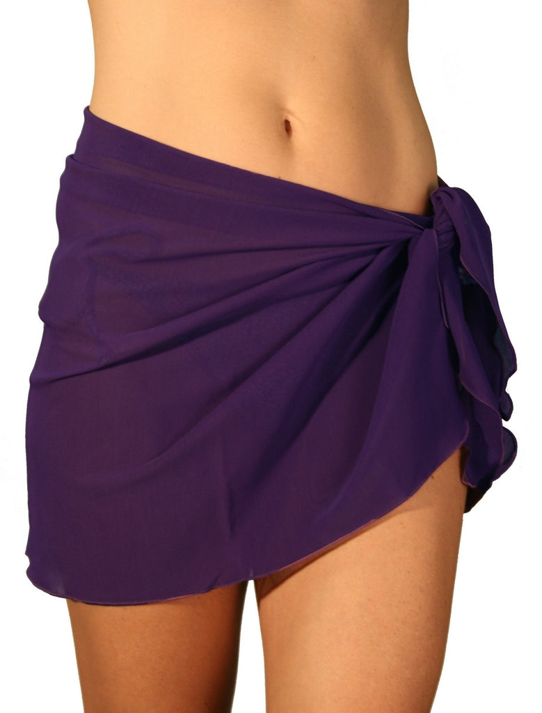 Solid purple sarong swimsuit coverups from Lifestyles Direct Tan Through Swimwear.