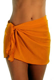 Solid orange swimwear coverup sarong with tan through fabric.