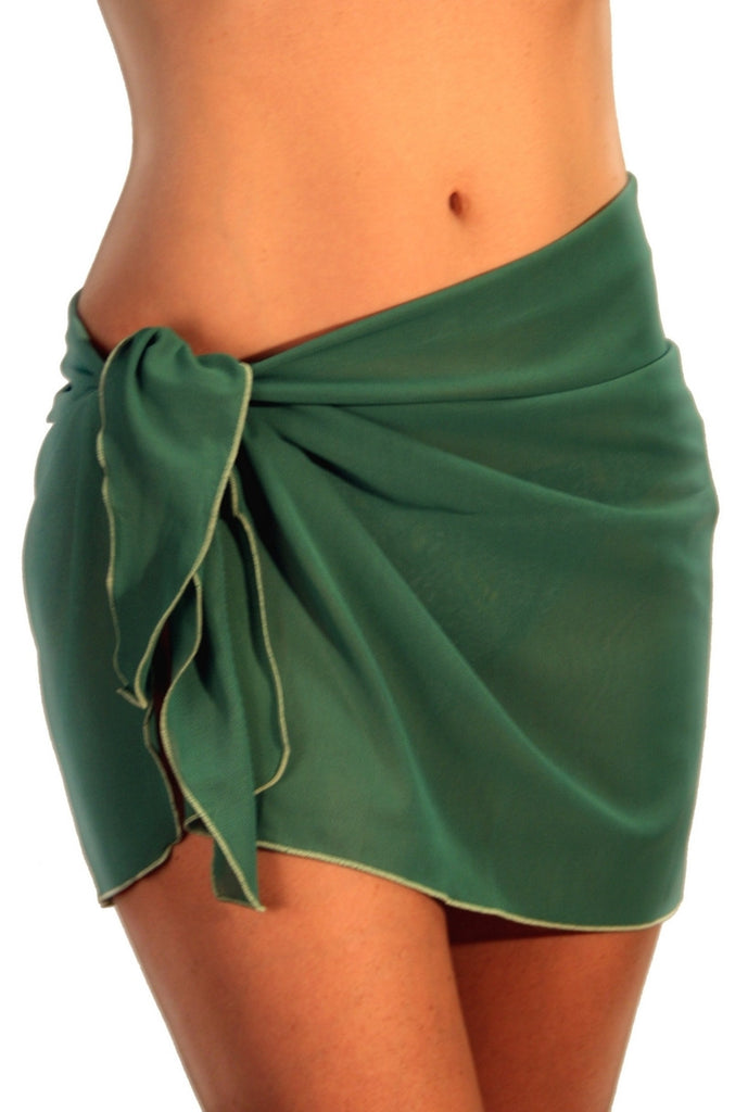 Solid green tan through sarong from Lifestyles Direct.