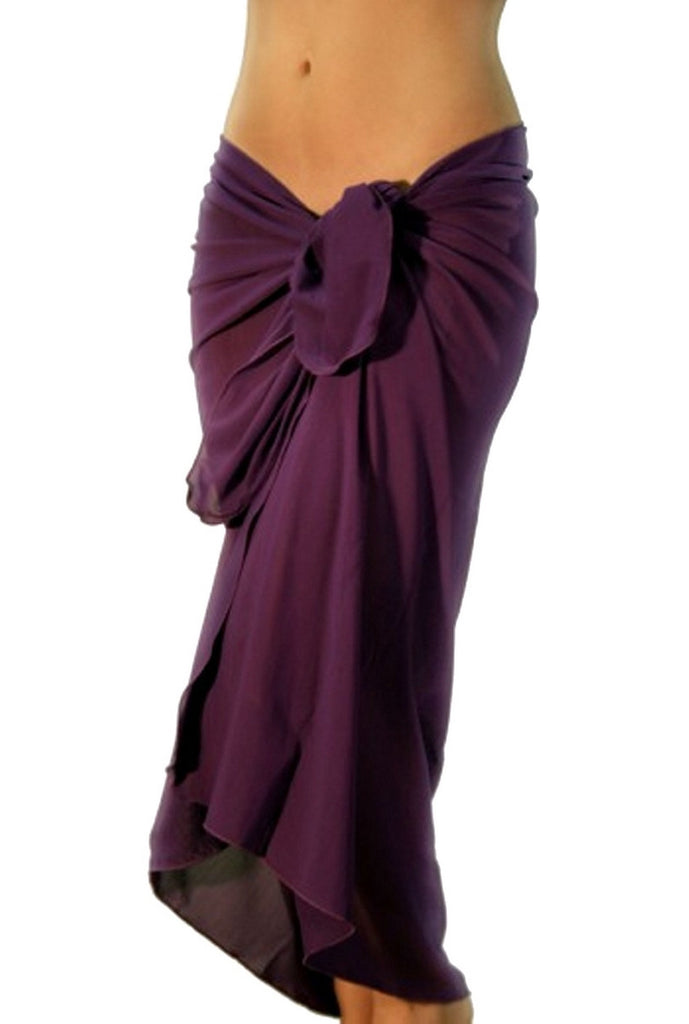 Solid purple pareo tan through swimsuit coverups.