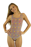 Orange Bubbles tan through traditional tank womens bathing suit.
