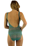 Back view of green Forever traditional tank swimwear.