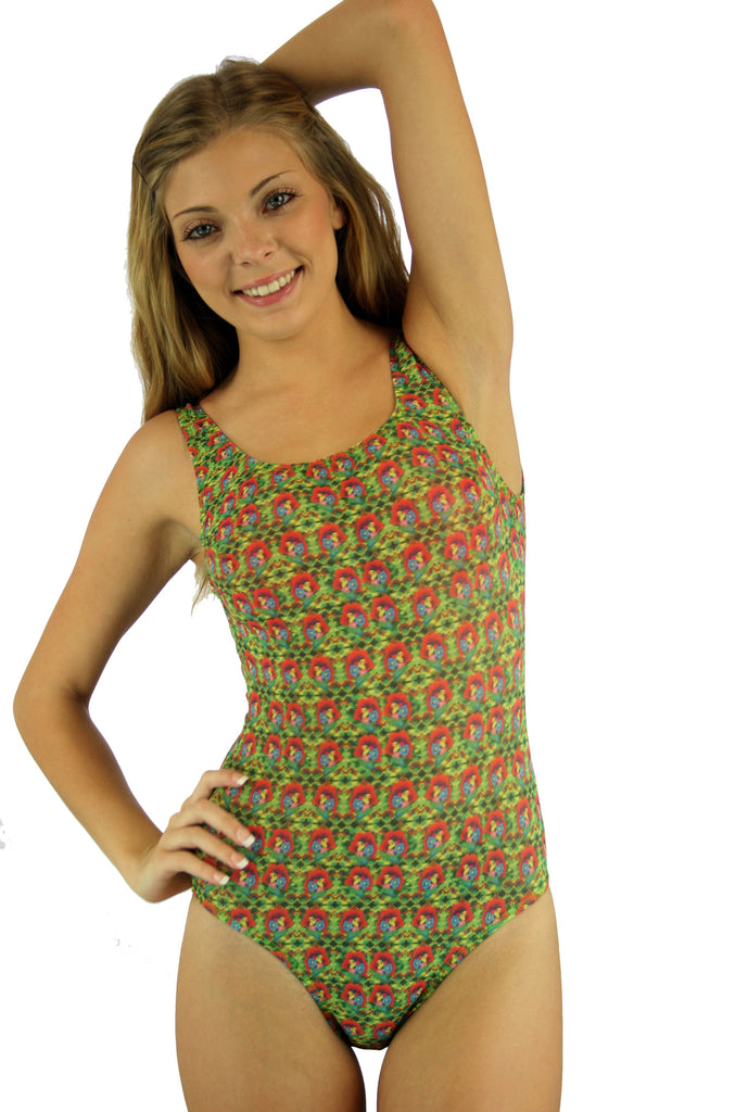 Red Toucan tan through traditional tank womens bathing suit.