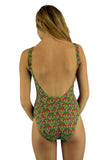 Back view of red Toucan traditional tank from Lifestyles Direct Tan Through Swimwear