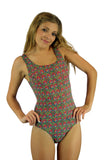 Pink Toucan print on Lifestyles Direct Tan Through Swimwear traditional tank swimsuit.