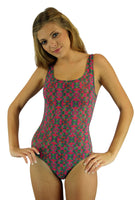 Kaleidoscope tan through one piece tank swimsuit from Lifestyles Direct.