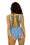 C/D underwire tan through swimsuit with blue Bubbles print.