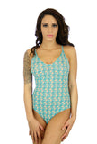 Crisscross adjustable strap womens swimwear in Conch print.