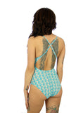 Back view of crisscross strap Conch swimsuit.