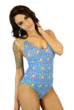 Blue Bubbles V neck crisscross adjustable strap womens swimsuit.