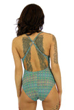 Back of adjustable crisscross strap womens swimwear in green Forever print.