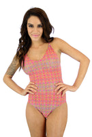 Adjustable crisscross strap womens bathing suit in pink Forever print.