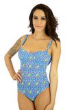 Blue Bubbles underwire swimsuit with adjustable straps from Lifestyles Direct Tan Through Swimwear.