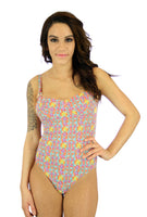 Tan through womens swimsuit in orange Bubbles print with underwire cups and adjustable straps.