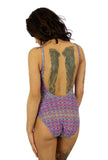 Back view of tan through underwire support tank with adjustable straps in blue Forever print.