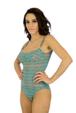 Green Forever tan through adjustable strap underwire womens swimwear.