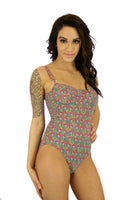 Tan through underwire swimsuit with adjustable straps -- pink Toucan print.