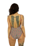 Back view of Lifestyles Direct Tan Through Swimwear with underwire support and adjustable straps in pink Toucan print.