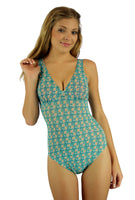 Tan through structured cup tank swimsuit from Lifestyles Direct in Conch print.