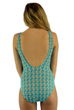 Back view of structured top swimwear in Conch print from Lifestyles Direct Tan Through Swimwear.