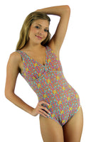 CB8612 structured top tan through swimsuit from Lifestyles Direct in orange Bubbles print.