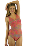 Allie models a tan through swimwear with structured cups from Lifestyles Direct in pink Forever print.