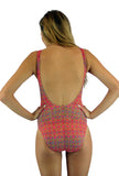 Back of pink Forever structured top tank swim suit from Lifestyles Direct Tan Through Swimwear.
