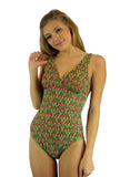 Structured cup tan through one piece womens swimming suit in red Toucan print.