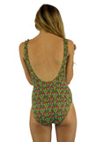 Back view of tan through swimsuit with structured cups and red Toucan print.