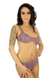 C-D underwire swimsuit bikini top in tan through Kaleidoscope fabric.