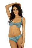 Tan through C-D underwire bikini top in blue Jungle Heat fabric.