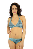 Low rise bikini bottom in tan through fabric with blue Jungle Heat pattern.