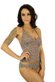 High waist bikini bottom in pink Toucan print from Lifestyles Direct Tan Through Swimwear.