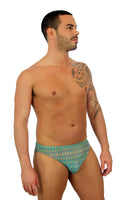 Green Forever print on tan through mens swimwear with 1 inch side.