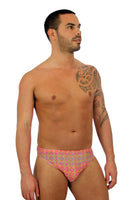 Pink Forever tan through mens swimsuit racer with 1 inch side.
