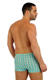 Back view of tan through bike shorts mens swimwear in Conch.