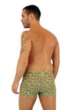 Mens swimwear bike shorts with 9 inch side and tan through red Toucan fabric.
