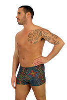 Multicolor Safari print on tan through bike shorts for men.