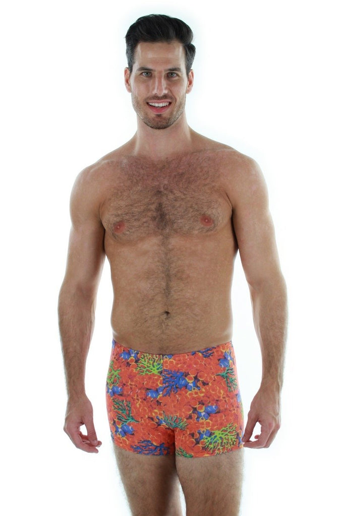 Tan through men's bike shorts -- front view -- orange Fiji.