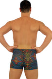 Safari multicolor option on 9 inch bike shorts from Lifestyles Direct Tan Through Swimwear.
