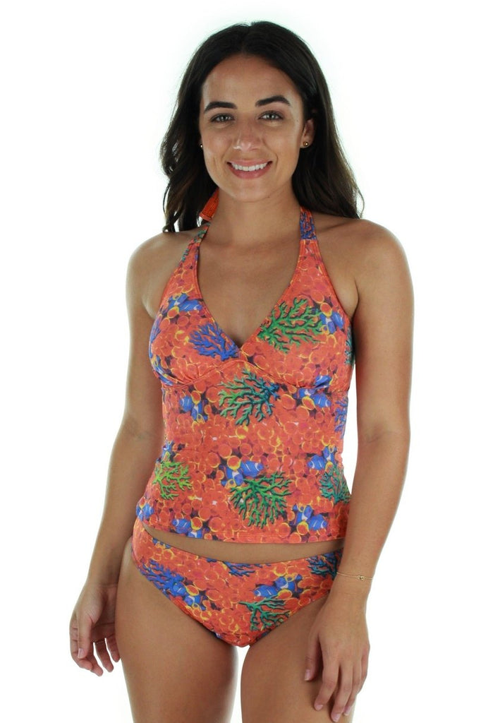 Tan through high waist bikini bottom -- front view -- orange Fiji.
